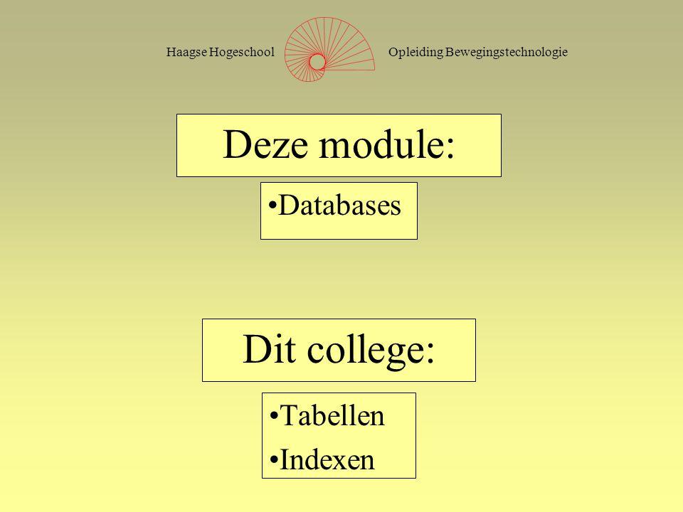 Opleiding BewegingstechnologieHaagse Hogeschool Deze module: Tabellen Indexen Dit college: Databases
