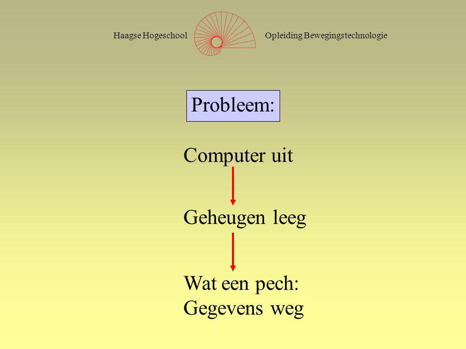 Opleiding BewegingstechnologieHaagse Hogeschool Probleem: Computer uit Geheugen leeg Wat een pech: Gegevens weg