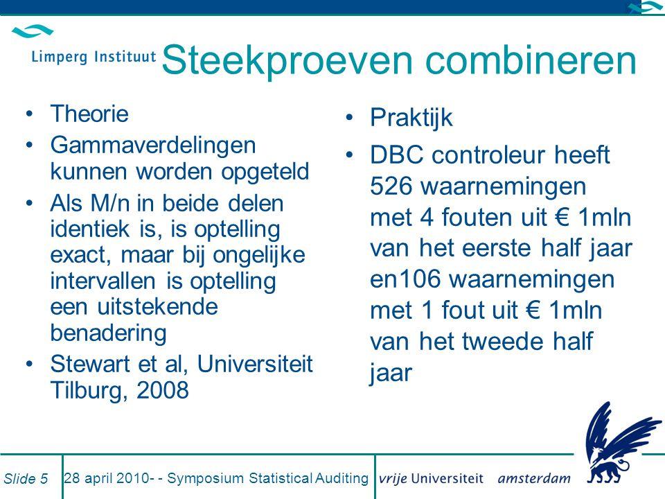 Voorbeelden DBC (oud en nieuw) 28 april 2010- - Symposium Statistical Auditing Slide 6
