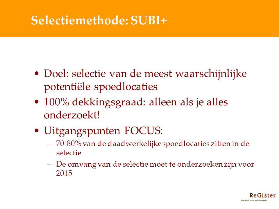 Selectiemethode: SUBI+ Doel: selectie van de meest waarschijnlijke potentiële spoedlocaties 100% dekkingsgraad: alleen als je alles onderzoekt! Uitgan