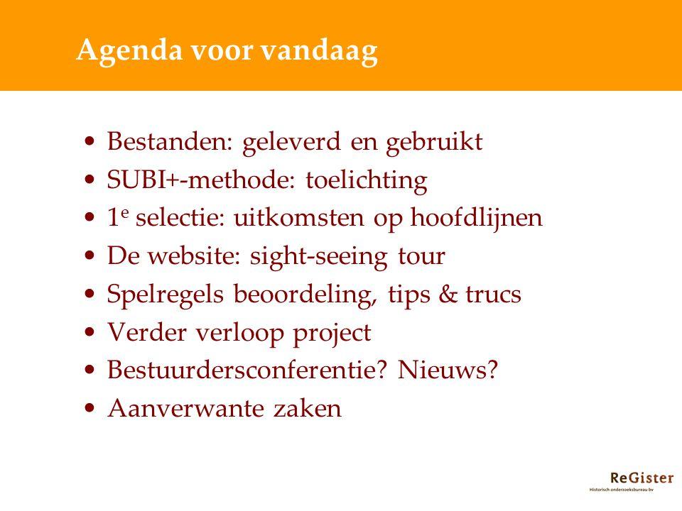 Agenda voor vandaag Bestanden: geleverd en gebruikt SUBI+-methode: toelichting 1 e selectie: uitkomsten op hoofdlijnen De website: sight-seeing tour S