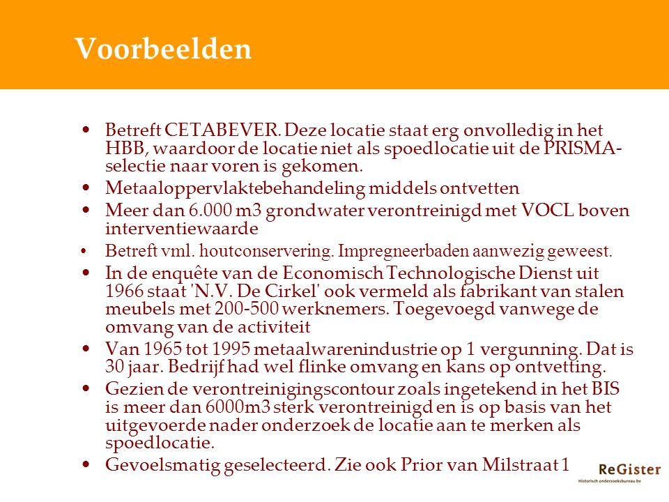 Voorbeelden Betreft CETABEVER.