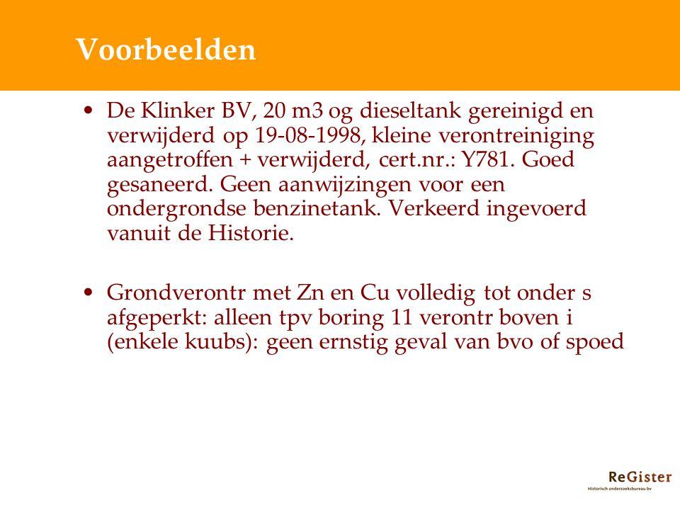 Voorbeelden De Klinker BV, 20 m3 og dieseltank gereinigd en verwijderd op 19-08-1998, kleine verontreiniging aangetroffen + verwijderd, cert.nr.: Y781.
