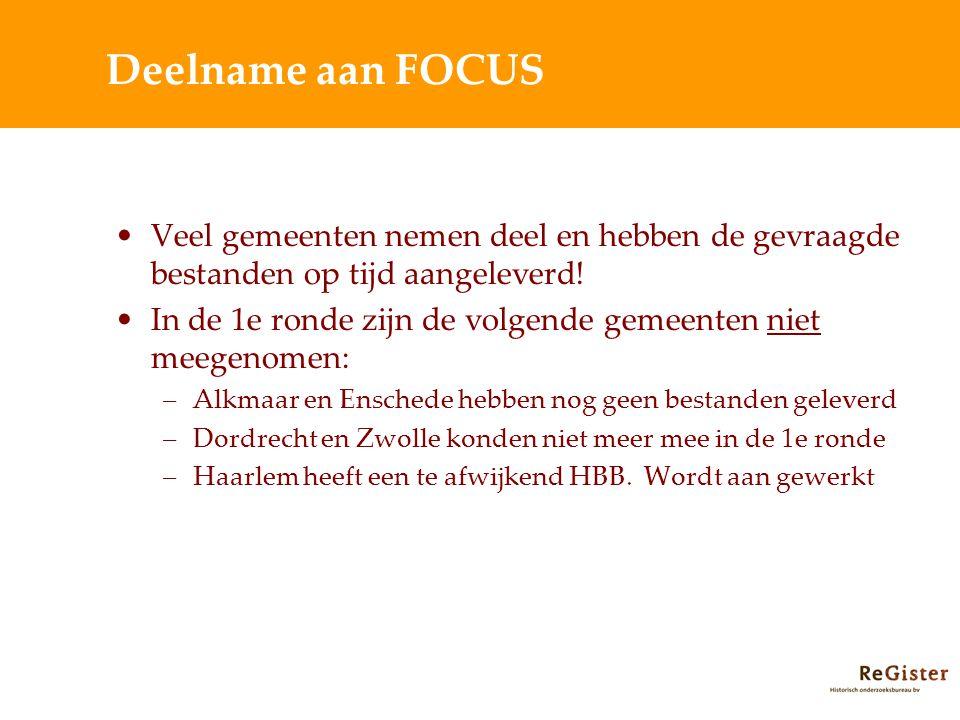 Deelname aan FOCUS Veel gemeenten nemen deel en hebben de gevraagde bestanden op tijd aangeleverd.