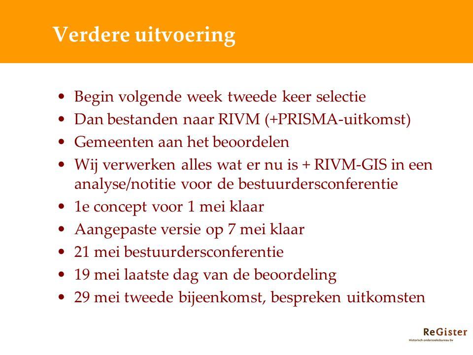 Verdere uitvoering Begin volgende week tweede keer selectie Dan bestanden naar RIVM (+PRISMA-uitkomst) Gemeenten aan het beoordelen Wij verwerken alle