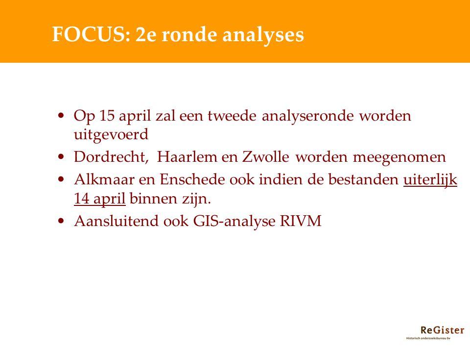 FOCUS: 2e ronde analyses Op 15 april zal een tweede analyseronde worden uitgevoerd Dordrecht, Haarlem en Zwolle worden meegenomen Alkmaar en Enschede ook indien de bestanden uiterlijk 14 april binnen zijn.