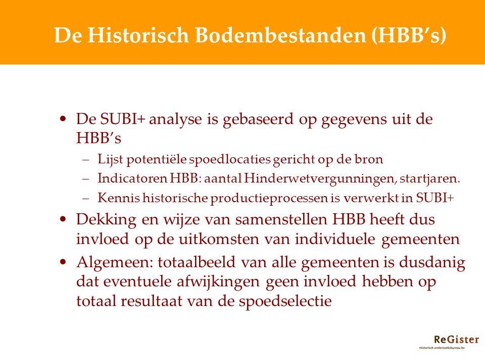 De Historisch Bodembestanden (HBB's) De SUBI+ analyse is gebaseerd op gegevens uit de HBB's –Lijst potentiële spoedlocaties gericht op de bron –Indicatoren HBB: aantal Hinderwetvergunningen, startjaren.