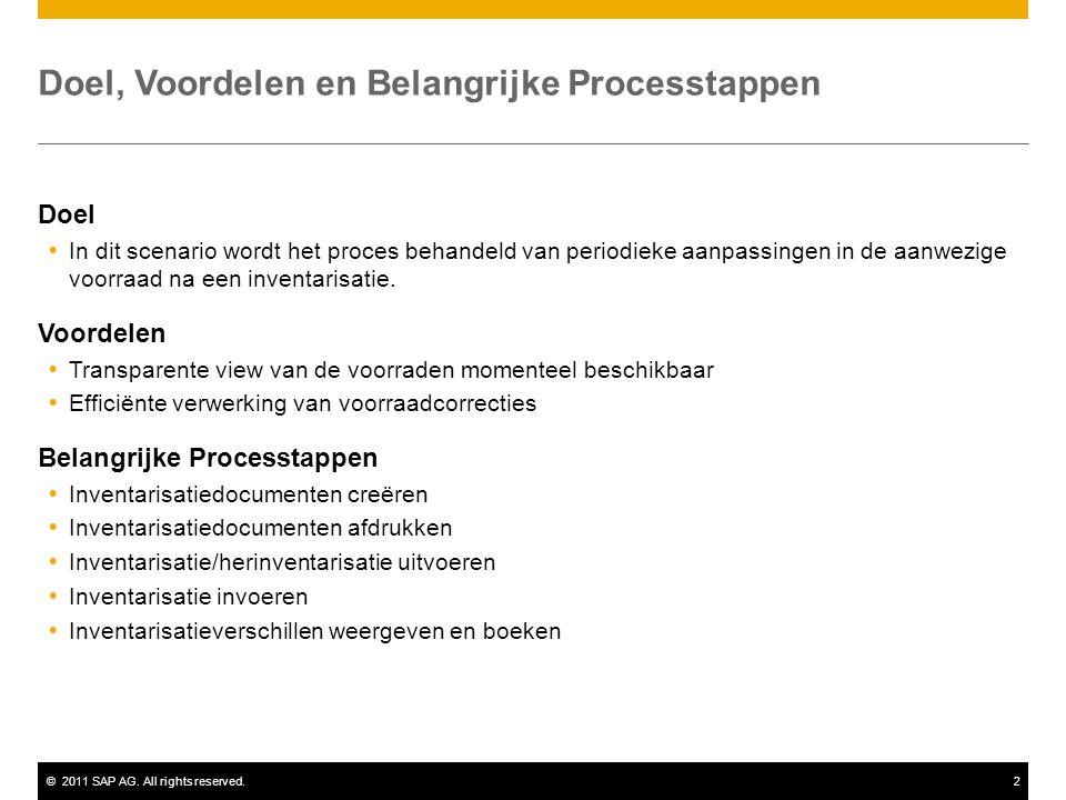 ©2011 SAP AG. All rights reserved.2 Doel, Voordelen en Belangrijke Processtappen Doel  In dit scenario wordt het proces behandeld van periodieke aanp