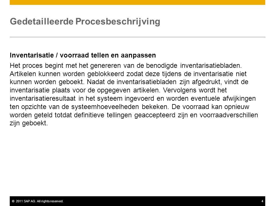 ©2011 SAP AG. All rights reserved.4 Gedetailleerde Procesbeschrijving Inventarisatie / voorraad tellen en aanpassen Het proces begint met het generere