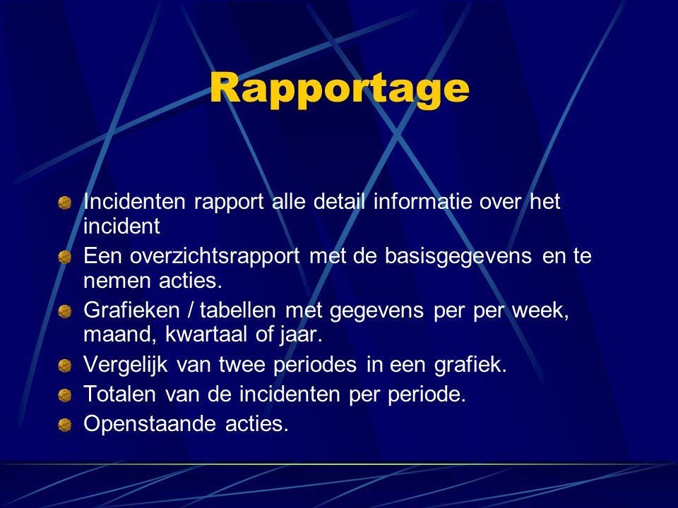 Rapportage Incidenten rapport alle detail informatie over het incident Een overzichtsrapport met de basisgegevens en te nemen acties. Grafieken / tabe