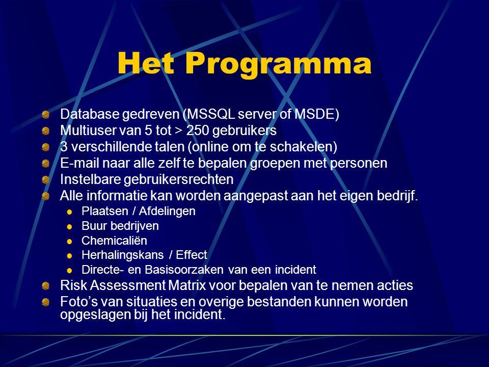 Het Programma Database gedreven (MSSQL server of MSDE) Multiuser van 5 tot > 250 gebruikers 3 verschillende talen (online om te schakelen) E-mail naar