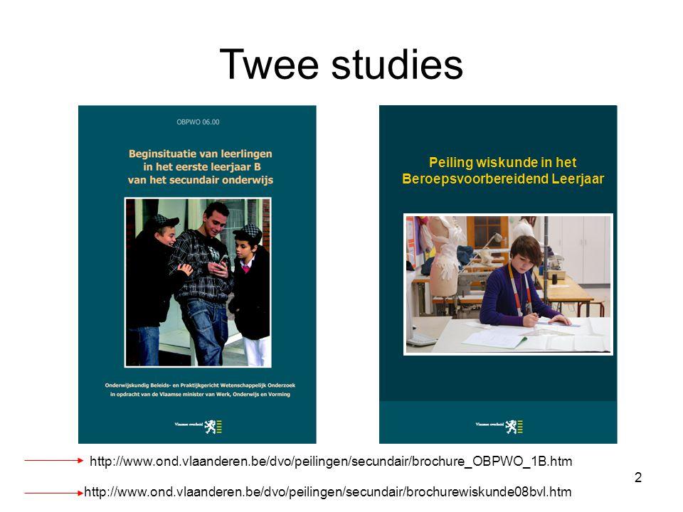 3 Doelstelling OBPWO-project Beginsituatie 1B-leerling –Toetsen wiskunde en Nederlands –Achtergrondvragenlijsten Leerlingen Ouders Leerkrachten Meten van leerwinst voor wiskunde (BVL)