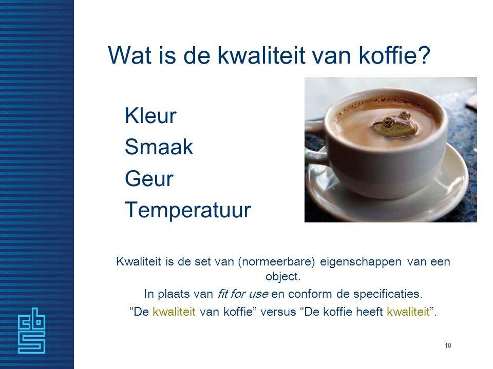 10 Wat is de kwaliteit van koffie? Kleur Smaak Geur Temperatuur Kwaliteit is de set van (normeerbare) eigenschappen van een object. In plaats van fit