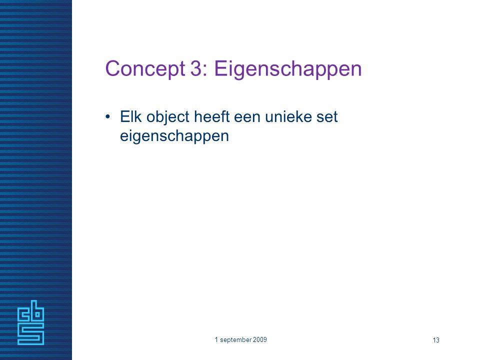 Concept 3: Eigenschappen Elk object heeft een unieke set eigenschappen 1 september 2009 13