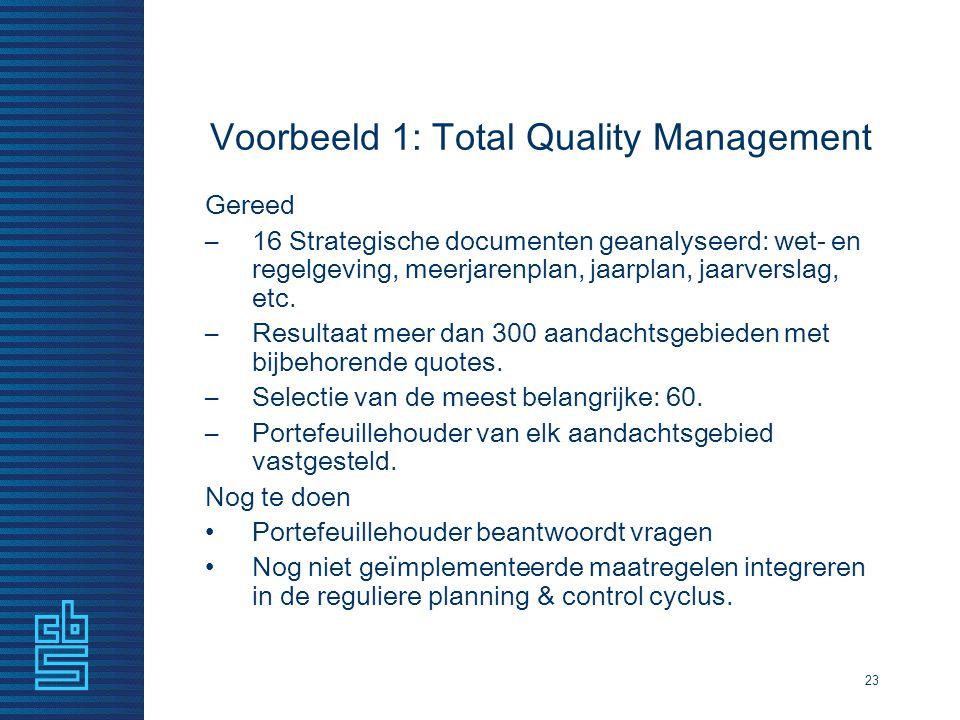 Voorbeeld 1: Total Quality Management 23 Gereed –16 Strategische documenten geanalyseerd: wet- en regelgeving, meerjarenplan, jaarplan, jaarverslag, e