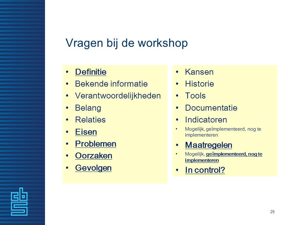 Vragen bij de workshop Definitie Bekende informatie Verantwoordelijkheden Belang Relaties Eisen Problemen Oorzaken Gevolgen Kansen Historie Tools Docu