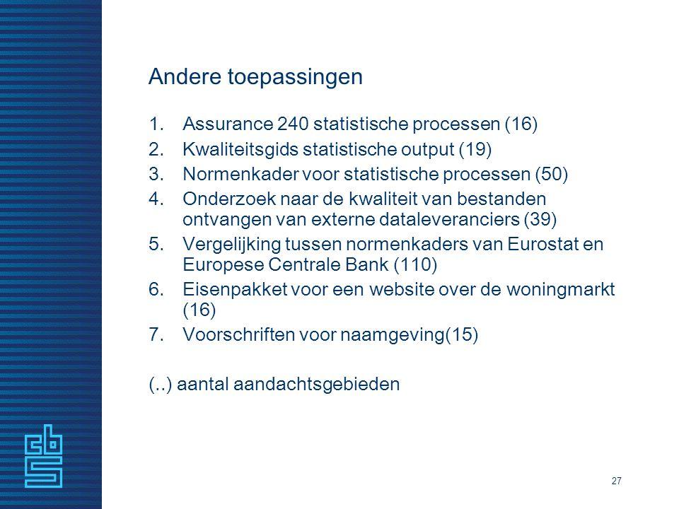 Andere toepassingen 1.Assurance 240 statistische processen (16) 2.Kwaliteitsgids statistische output (19) 3.Normenkader voor statistische processen (5