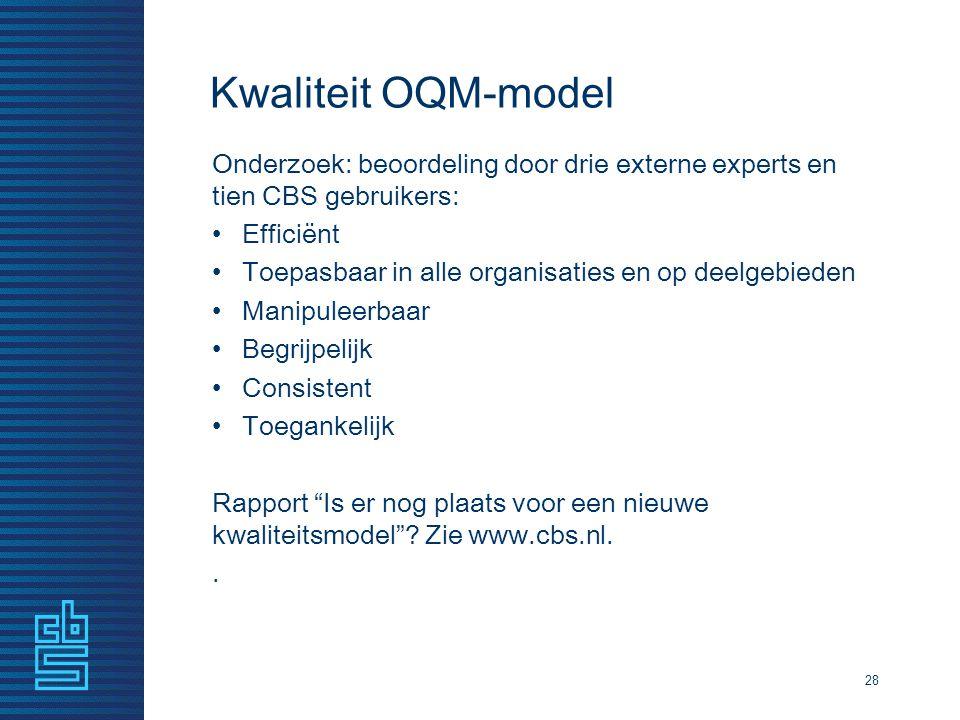 Kwaliteit OQM-model Onderzoek: beoordeling door drie externe experts en tien CBS gebruikers: Efficiënt Toepasbaar in alle organisaties en op deelgebie