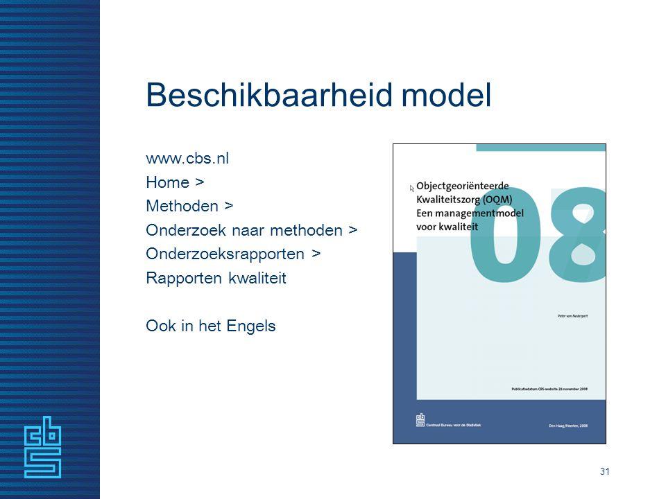 Beschikbaarheid model www.cbs.nl Home > Methoden > Onderzoek naar methoden > Onderzoeksrapporten > Rapporten kwaliteit Ook in het Engels 31