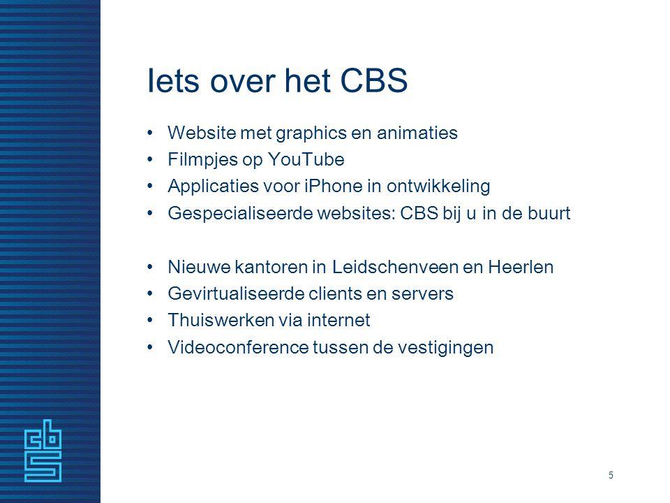 Iets over het CBS Website met graphics en animaties Filmpjes op YouTube Applicaties voor iPhone in ontwikkeling Gespecialiseerde websites: CBS bij u i