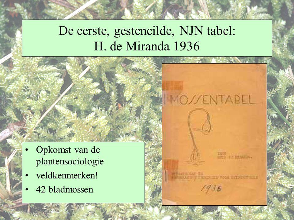 De eerste, gestencilde, NJN tabel: H. de Miranda 1936 Opkomst van de plantensociologie veldkenmerken! 42 bladmossen