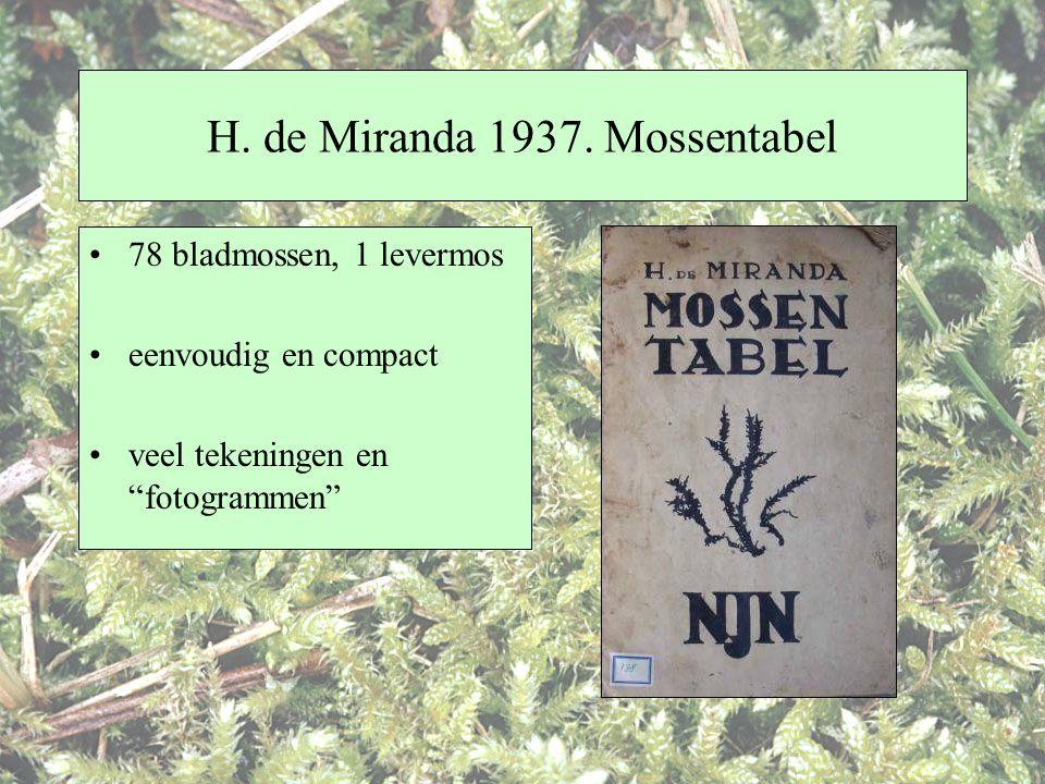 """H. de Miranda 1937. Mossentabel 78 bladmossen, 1 levermos eenvoudig en compact veel tekeningen en """"fotogrammen"""""""
