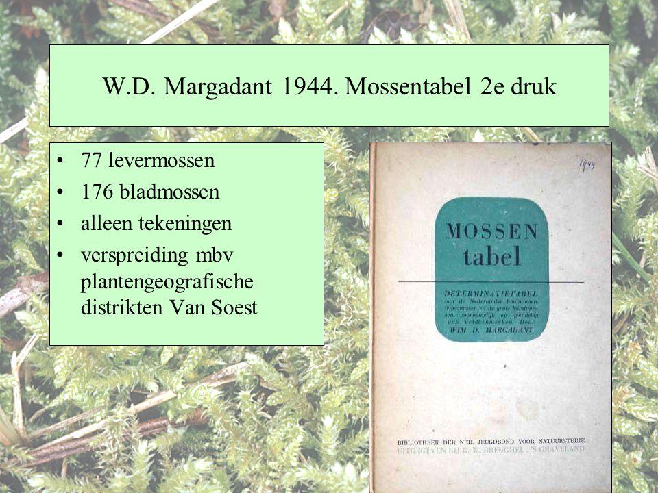 W.D. Margadant 1944. Mossentabel 2e druk 77 levermossen 176 bladmossen alleen tekeningen verspreiding mbv plantengeografische distrikten Van Soest