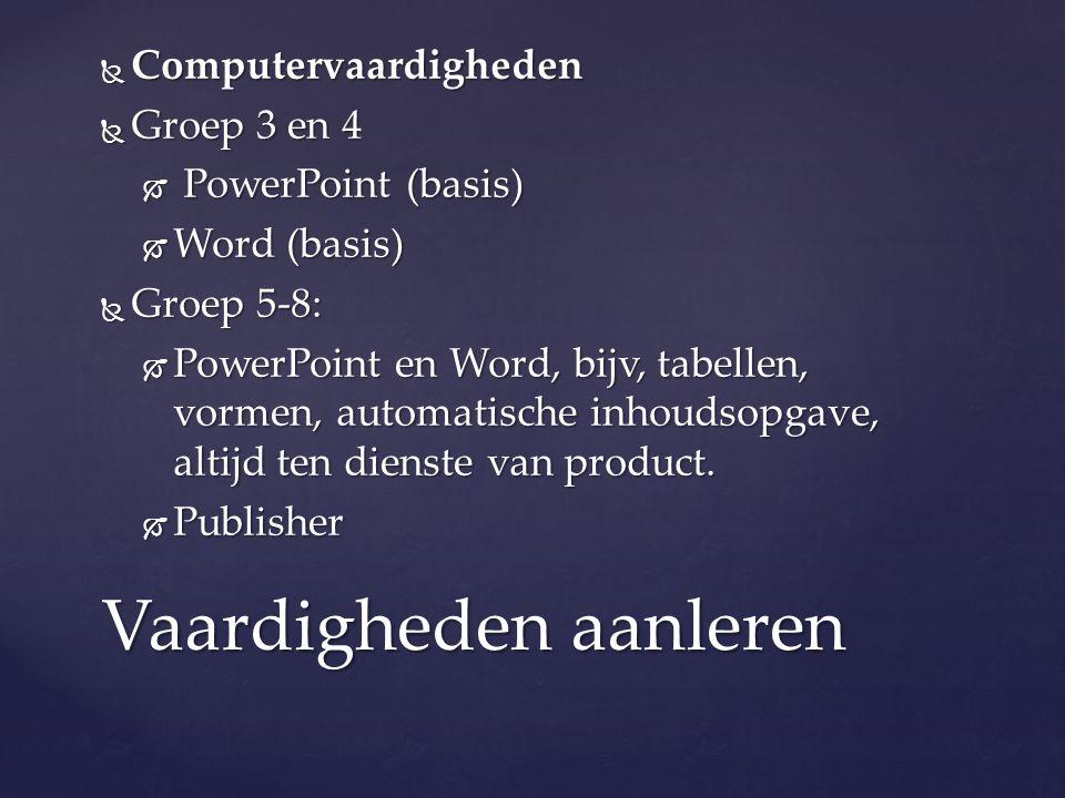  Computervaardigheden  Groep 3 en 4  PowerPoint (basis)  Word (basis)  Groep 5-8:  PowerPoint en Word, bijv, tabellen, vormen, automatische inhoudsopgave, altijd ten dienste van product.