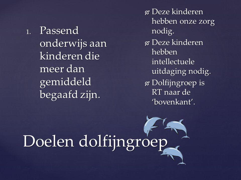 Doelen dolfijngroep 1. Passend onderwijs aan kinderen die meer dan gemiddeld begaafd zijn.  Deze kinderen hebben onze zorg nodig.  Deze kinderen heb