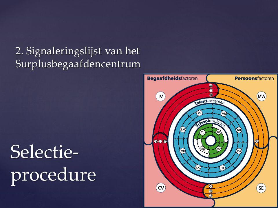 2. Signaleringslijst van het Surplusbegaafdencentrum Selectie- procedure
