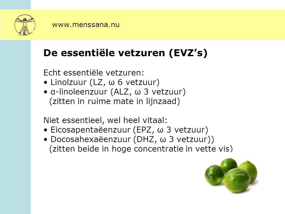 De essentiële vetzuren (EVZ's) Echt essentiële vetzuren: Linolzuur (LZ, ω 6 vetzuur) α-linoleenzuur (ALZ, ω 3 vetzuur) (zitten in ruime mate in lijnza