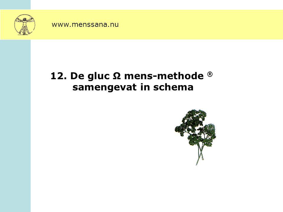 12. De gluc Ω mens-methode ® samengevat in schema www.menssana.nu