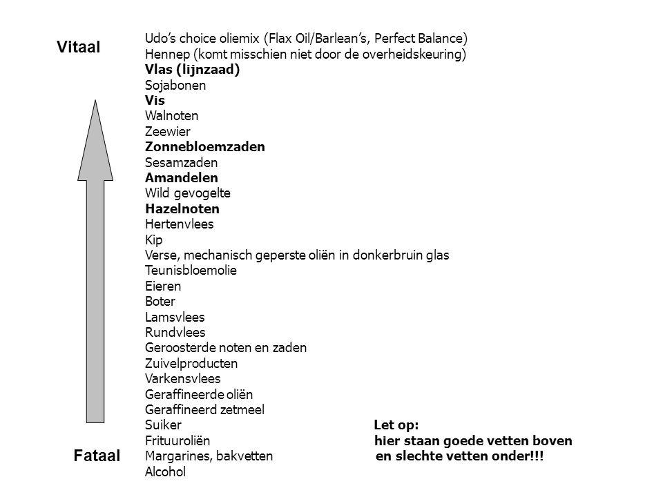 Udo's choice oliemix (Flax Oil/Barlean's, Perfect Balance) Hennep (komt misschien niet door de overheidskeuring) Vlas (lijnzaad) Sojabonen Vis Walnote