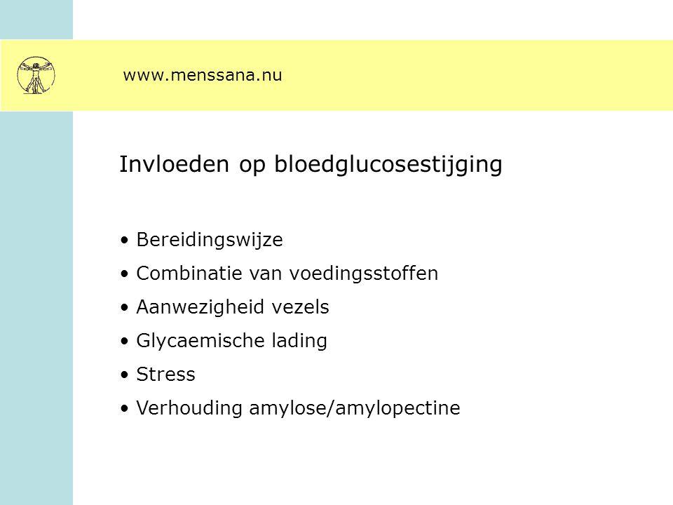 www.menssana.nu Invloeden op bloedglucosestijging Bereidingswijze Combinatie van voedingsstoffen Aanwezigheid vezels Glycaemische lading Stress Verhou