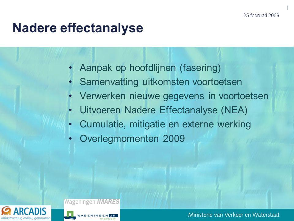 25 februari 2009 1 Nadere effectanalyse Aanpak op hoofdlijnen (fasering) Samenvatting uitkomsten voortoetsen Verwerken nieuwe gegevens in voortoetsen Uitvoeren Nadere Effectanalyse (NEA) Cumulatie, mitigatie en externe werking Overlegmomenten 2009
