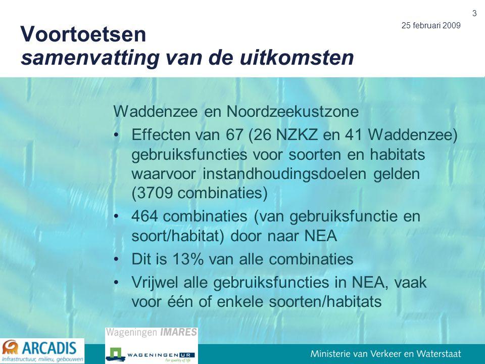 25 februari 2009 3 Voortoetsen samenvatting van de uitkomsten Waddenzee en Noordzeekustzone Effecten van 67 (26 NZKZ en 41 Waddenzee) gebruiksfuncties voor soorten en habitats waarvoor instandhoudingsdoelen gelden (3709 combinaties) 464 combinaties (van gebruiksfunctie en soort/habitat) door naar NEA Dit is 13% van alle combinaties Vrijwel alle gebruiksfuncties in NEA, vaak voor één of enkele soorten/habitats