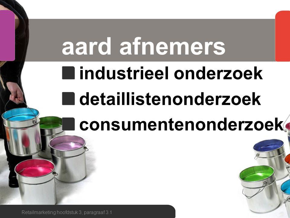 aard afnemers industrieel onderzoek detaillistenonderzoek consumentenonderzoek Retailmarketing hoofdstuk 3, paragraaf 3.1
