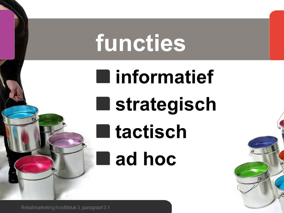fasen marktonderzoekproces probleemstelling informatiebehoefte beschikbaarheid informatie manier van verzamelen onderzoeksmethode verzamelen en verwerken analyseren interpreteren rapporteren feedback Retailmarketing hoofdstuk 3, paragraaf 3.1