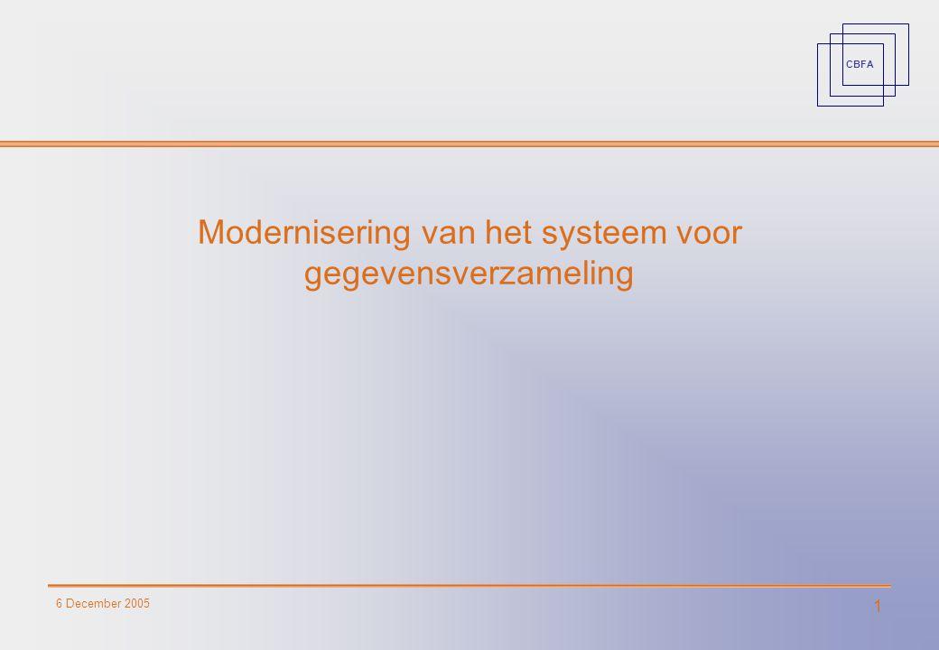 CBFA 6 December 2005 1 Modernisering van het systeem voor gegevensverzameling