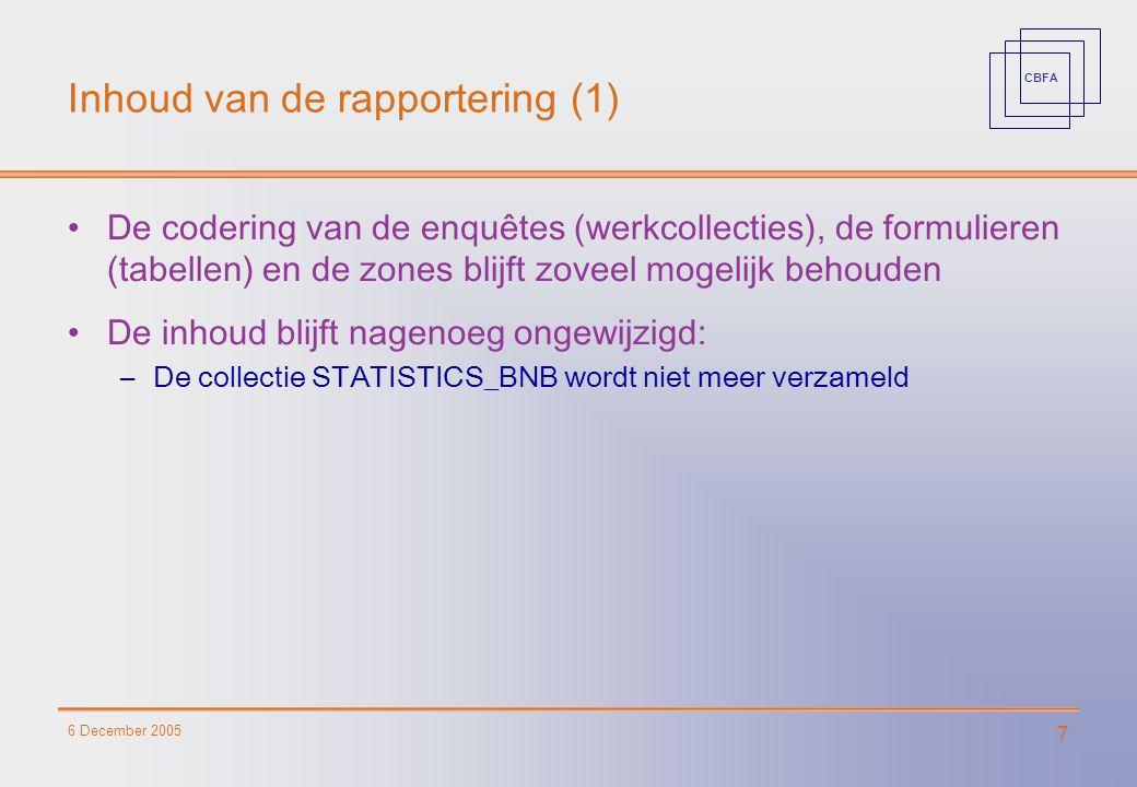 CBFA 6 December 2005 7 Inhoud van de rapportering (1) De codering van de enquêtes (werkcollecties), de formulieren (tabellen) en de zones blijft zovee