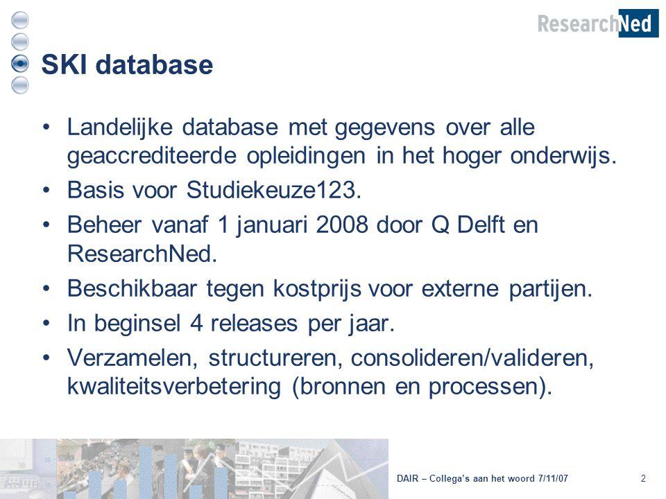 2DAIR – Collega's aan het woord 7/11/07 SKI database Landelijke database met gegevens over alle geaccrediteerde opleidingen in het hoger onderwijs. Ba