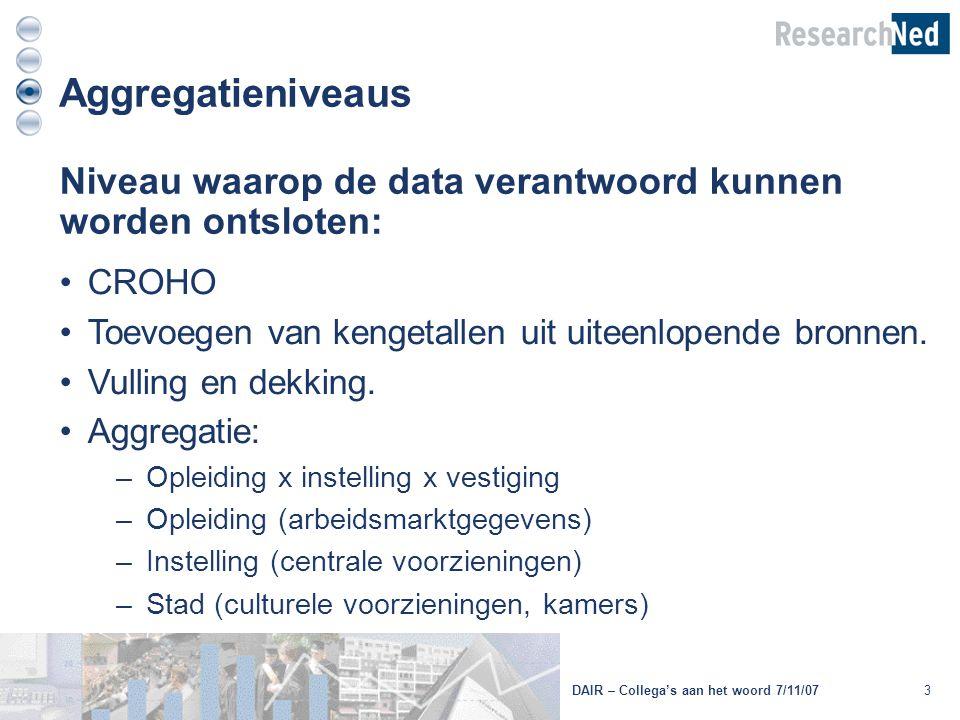3 Aggregatieniveaus Niveau waarop de data verantwoord kunnen worden ontsloten: CROHO Toevoegen van kengetallen uit uiteenlopende bronnen. Vulling en d