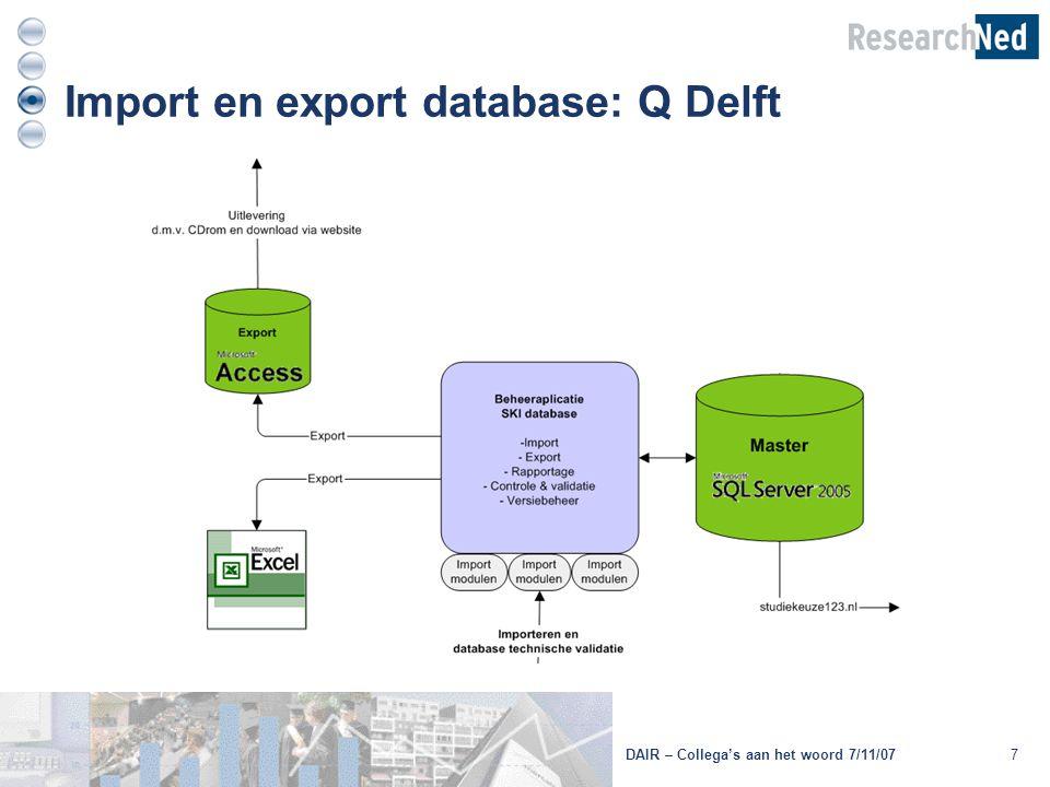 7 Import en export database: Q Delft DAIR – Collega's aan het woord 7/11/07