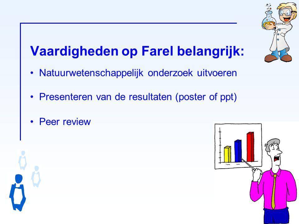 Vaardigheden op Farel belangrijk: -12- Natuurwetenschappelijk onderzoek uitvoeren Presenteren van de resultaten (poster of ppt) Peer review