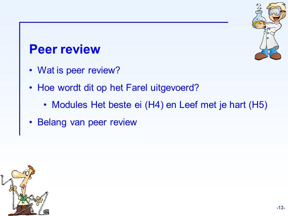 Wat is peer review.Hoe wordt dit op het Farel uitgevoerd.