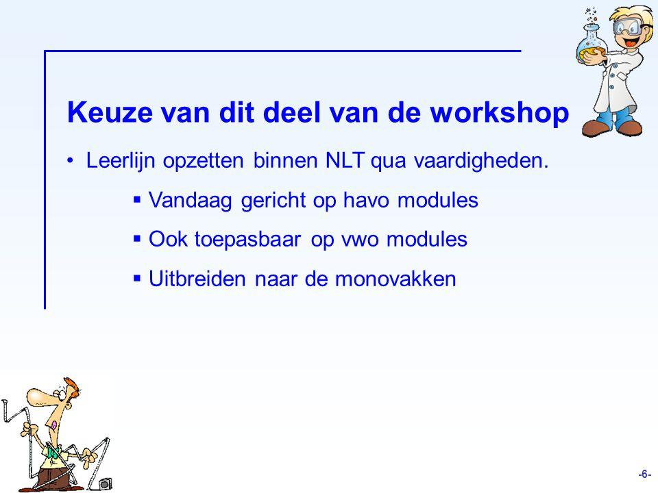 Keuze van dit deel van de workshop Leerlijn opzetten binnen NLT qua vaardigheden.