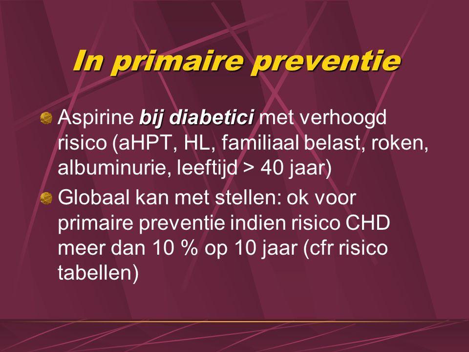 In primaire preventie bij diabetici Aspirine bij diabetici met verhoogd risico (aHPT, HL, familiaal belast, roken, albuminurie, leeftijd > 40 jaar) Gl