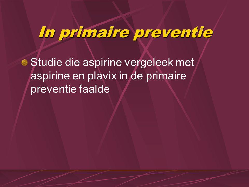 Secundaire preventie STEMI Aspirine 160-325 mg po of IV analoog (liefst geen EC vorm ofwel kauwen), nadien 75-160 mg/d verder Bij KI aspirine: clopidogrel NSTEMI: idem  Meestal kombinatie aspirine en plavix gedurende een jaar