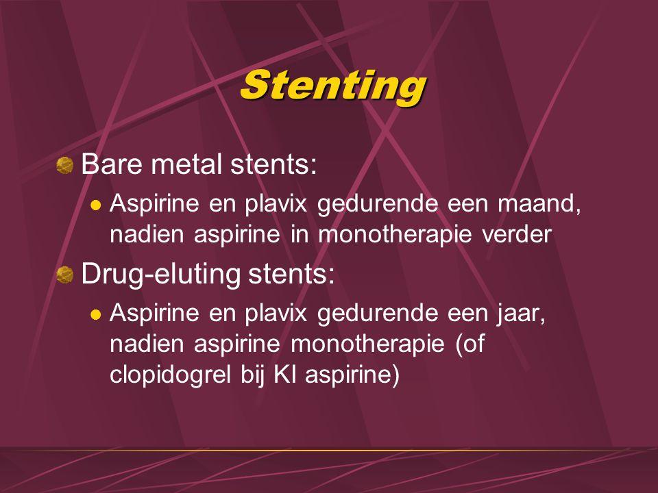 Stenting Bare metal stents: Aspirine en plavix gedurende een maand, nadien aspirine in monotherapie verder Drug-eluting stents: Aspirine en plavix ged