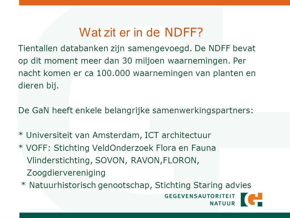 Wat zit er in d e NDFF. Tientallen databanken zijn samengevoegd.